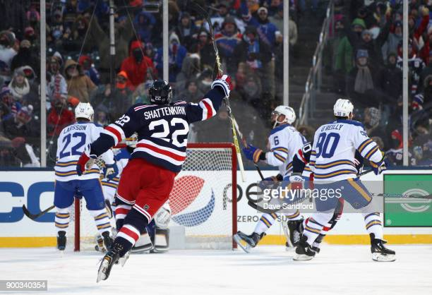 Kevin Shattenkirk of the New York Rangers celebrates after teammate JT Miller scored the gamewinning goal in overtime against the Buffalo Sabres...