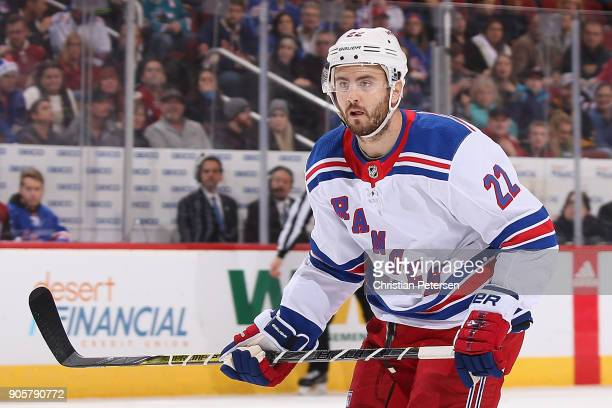 Kevin Shattenkirk of the New York Rangers in action during the NHL game against the Arizona Coyotes at Gila River Arena on January 6 2018 in Glendale...