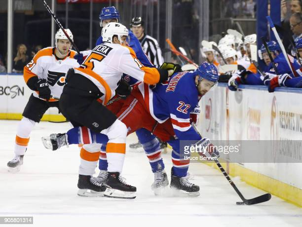 Kevin Shattenkirk of the New York Rangers is checked by Jori Lehtera of the Philadelphia Flyers at Madison Square Garden on January 16 2018 in New...