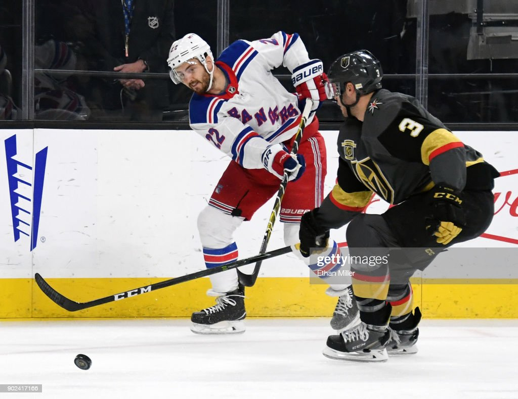 Kevin Shattenkirk #22 of the New York Rangers takes a shot against Brayden McNabb #3 of the Vegas Golden Knights in the first period of their game at T-Mobile Arena on January 7, 2018 in Las Vegas, Nevada. The Golden Knights won 2-1.