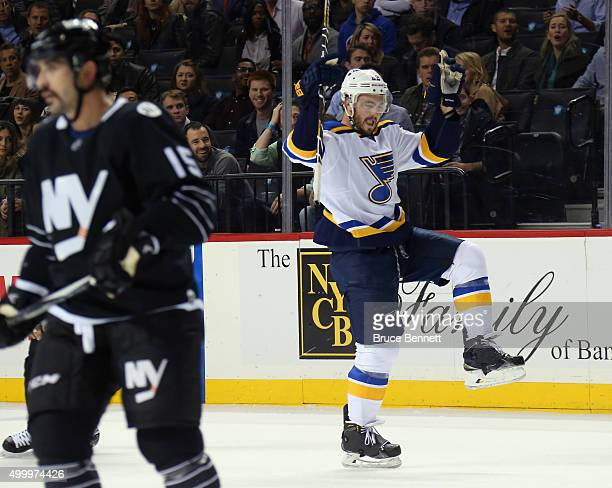 Kevin Shattenkirk of the St Louis Blues celebrates his goal at 1933 of the first period against the New York Islanders at the Barclays Center on...