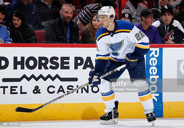 Kevin Shattenkirk of the St Louis Blues during the NHL game against the Arizona Coyotes at Gila River Arena on January 6 2015 in Glendale Arizona The...