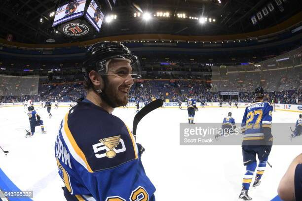 Kevin Shattenkirk of the St Louis Blues looks on during warmups prior to a game against the Florida Panthers on February 20 2017 at Scottrade Center...