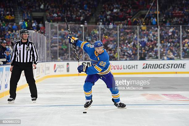 Kevin Shattenkirk of the St Louis Blues winds up for a slapshot from the right point during the 2017 Bridgestone NHL Winter Classic at Busch Stadium...