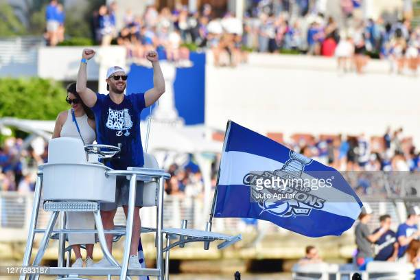 Kevin Shattenkirk of the Tampa Bay Lightning celebrates from his boat at the Tampa Bay Lightning Victory Rally & Boat Parade on the Hillsborough...