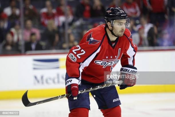 Kevin Shattenkirk of the Washington Capitals follows the puck against the Calgary Flames at Verizon Center on March 21 2017 in Washington DC
