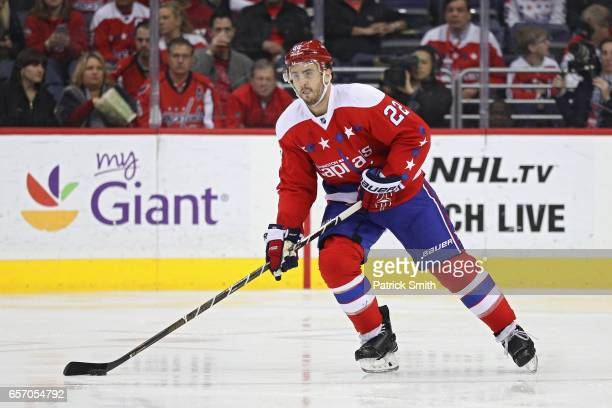 Kevin Shattenkirk of the Washington Capitals skates against the Columbus Blue Jackets during the second period at Verizon Center on March 23 2017 in...