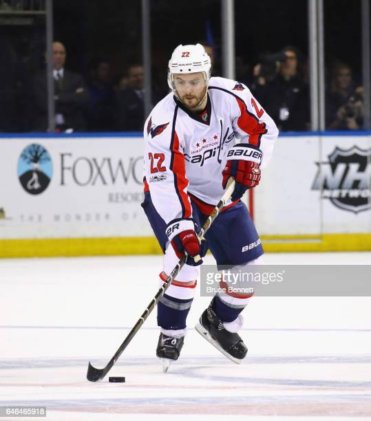 Kevin Shattenkirk of the Washington Capitals skates against the New York Rangers at Madison Square Garden on February 28 2017 in New York City The...