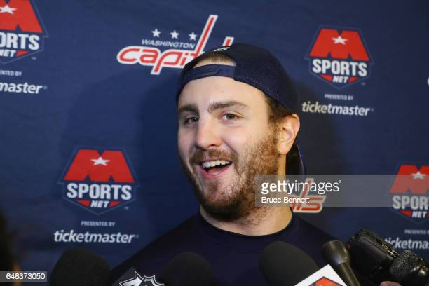 Kevin Shattenkirk of the Washington Capitals speaks at a press conference prior to his first game with the team against the New York Rangers at...