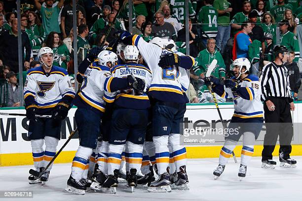 Kevin Shattenkirk Patrik Berglund Robby Fabbri and the St Louis Blues celebrate a goal against the Dallas Stars in Game Two of the Western Conference...