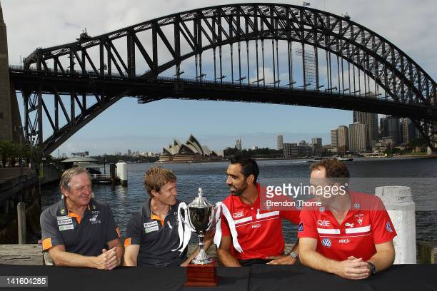 Kevin Sheedy and Luke Power of the Giants talk with Adam Goodes and John Longmire of the Swans during the launch of the Sydney Derby trophy at Luna...