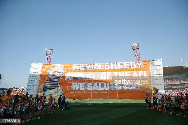 Kevin Sheedy banner is seen on the ground ahead of his last match in Sydney as Head Coach of the Giants before the round 22 AFL match between the...