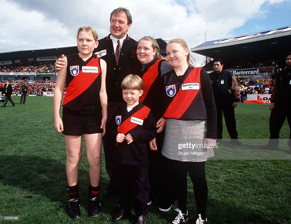 Kevin Sheedy, Coach of Essendon stands with his children, before the match between Essendon and the Adelaide Crows, during round 22 of the AFL season, played at Optus Oval, Melbourne, Australia. Mandatory Credit: Stuart Milligan/ALLSPORT