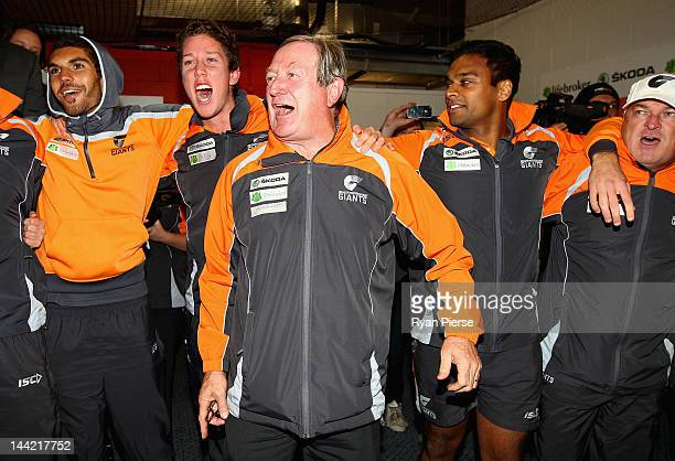 Kevin Sheedy coach of the Giants celebrates the Giants first AFL victory after the round seven AFL match between the Greater Western Sydney Giants...