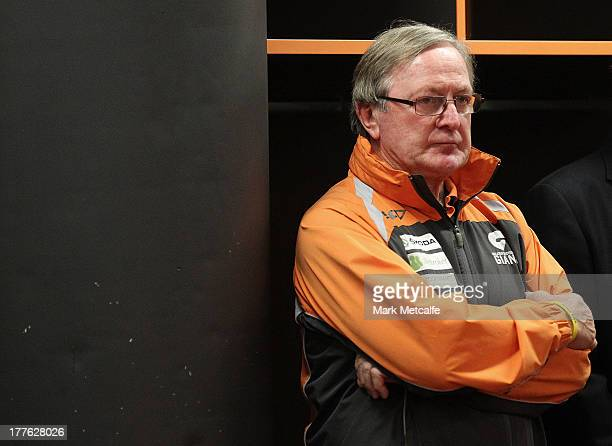 Kevin Sheedy looks on in the changing rooms after his last match in Sydney as Head Coach of the Giants during the round 22 AFL match between the...