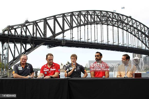 Kevin Sheedy of the Giants, John longmire of the Swans, Luke Power of the Giants and Adam Goodes of the Swans address the media during the launch of...
