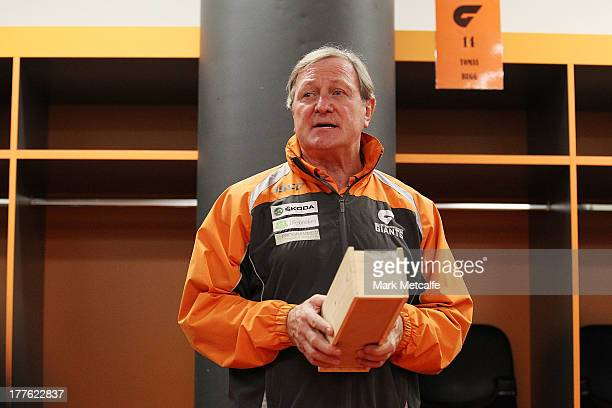 Kevin Sheedy speaks to players and officials in the changing rooms after his last match in Sydney as Head Coach of the Giants against Richmond Tigers...