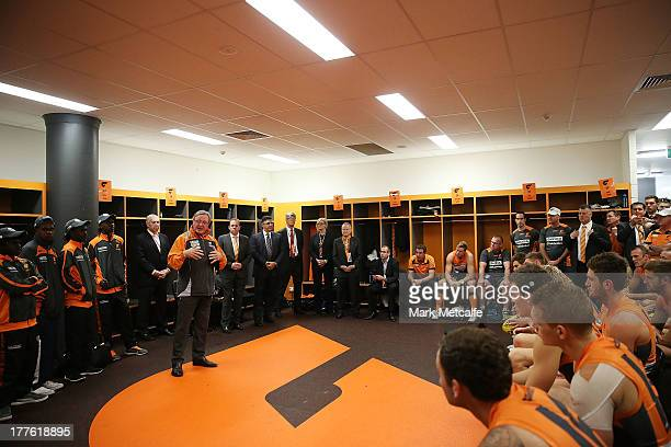 Kevin Sheedy talks to players and officials in the changing rooms before his last match in Sydney as Head Coach of the Giants before the round 22 AFL...