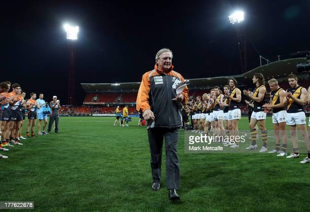 Kevin Sheedy walks from the field at the end of his last match in Sydney as Head Coach of the Giants during the round 22 AFL match between the...