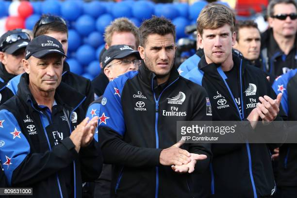 COO Kevin Shoebridge foil trimmer Blair Tuke and helmsman Peter Burling are pictured as Emirates Team New Zealand returns home to parade the...