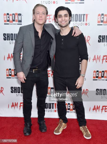 """Kevin Shulman and Atif Hashwi attend the Los Angeles Premiere of Roxwell Films """"I Am Fear"""" at Laemmle Monica Film Center on February 20 2020 in Santa..."""