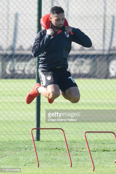 Kevin Sibille of River Plate in action during a training session at River Camp Ezeiza on March 21 2019 in Buenos Aires Argentina