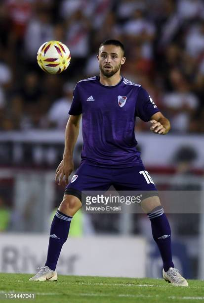 Kevin Sibille of River Plate looks at the ball during a match between River Plate and Union as part of Round 12 of Superliga 2018/19 at Estadio...