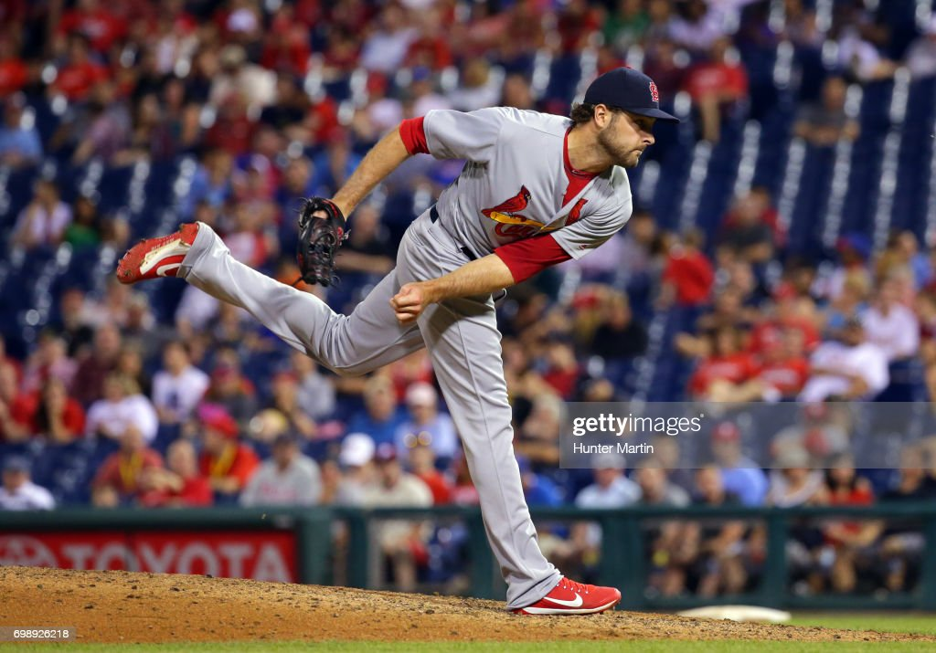Kevin Siegrist #46 of the St. Louis Cardinals throws a pitch in the tenth inning during a game against the Philadelphia Phillies at Citizens Bank Park on June 20, 2017 in Philadelphia, Pennsylvania. The Cardinals won 8-1 in 11 innings.