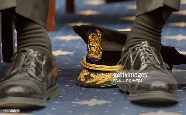 Kevin Simpson Chief of the Uniformed Division of the US Secret Service listens as acting US Secret Service Director Joseph Clancy testifys before the...