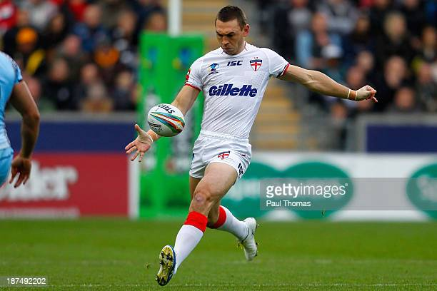 Kevin Sinfield of England kicks during the Rugby League World Cup Group A match at the KC Stadium on November 9 2013 in Hull England
