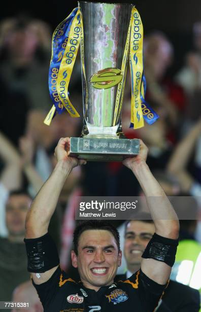 Kevin Sinfield of Leeds lifts the engage Super League Trophy after defeating StHelens in the engage Super League Grand Final match between StHelens...