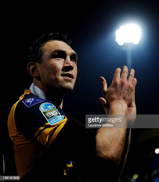 Kevin Sinfield of Leeds Rhinos applauds the fans following his team's victory at the end of the World Club Challenge match between Leeds Rhinos and...