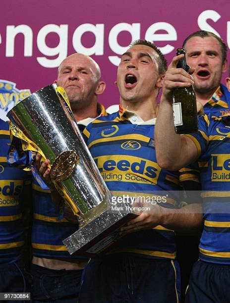 Kevin Sinfield of Leeds Rhinos celebrates with the trophy after the Engage Super League Grand Final between Leeds Rhinos and St Helens at Old...