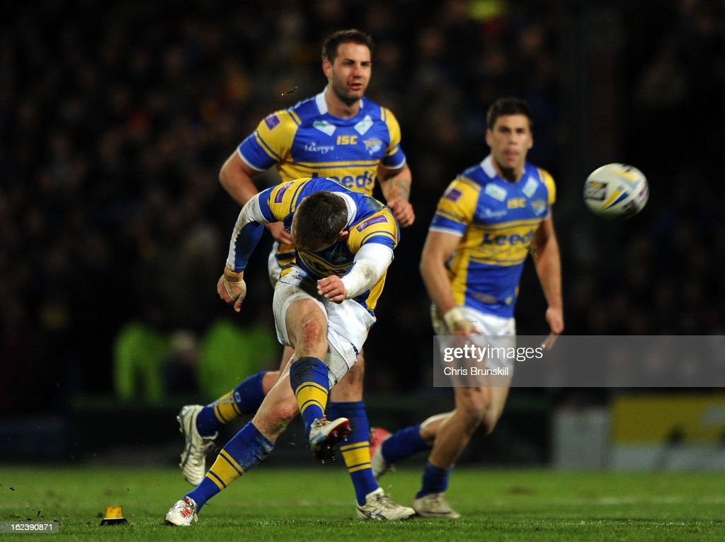 Kevin Sinfield of Leeds Rhinos kicks a conversion during the World Club Challenge match between Leeds Rhinos and Melbourne Storm at Headingley Carnegie Stadium on February 22, 2013 in Leeds, England.