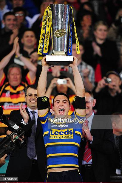 Kevin Sinfield of Leeds Rhinos lift the trophy after winning the Engage Super League Grand Final between Leeds Rhinos and St Helens at Old Trafford...