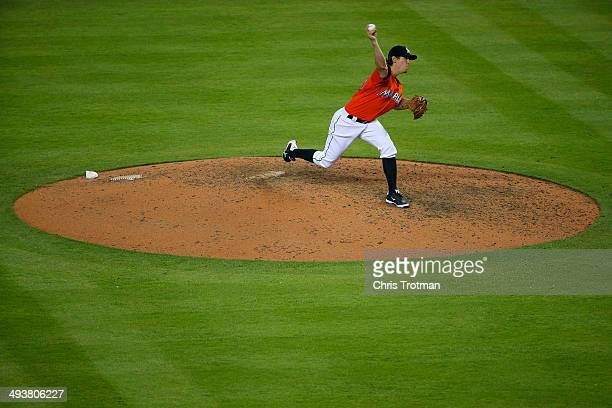 Kevin Slowey of the Miami Marlins delivers a pitch against the Milwaukee Brewers at Marlins Park on May 25 2014 in Miami Florida