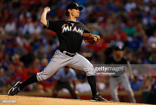 Kevin Slowey of the Miami Marlins pitches against the Texas Rangers in the bottom of the fifth inning at Globe Life Park in Arlington on June 11 2014...
