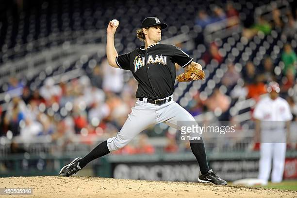 Kevin Slowey of the Miami Marlins pitches against the Washington Nationals at Nationals Park on May 28 2014 in Washington DC