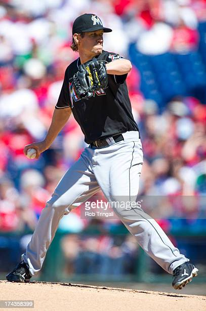 Kevin Slowey of the Miami Marlins pitches during the game against the Philadelphia Phillies at Citizens Bank Park on May 5 2013 in Philadelphia...
