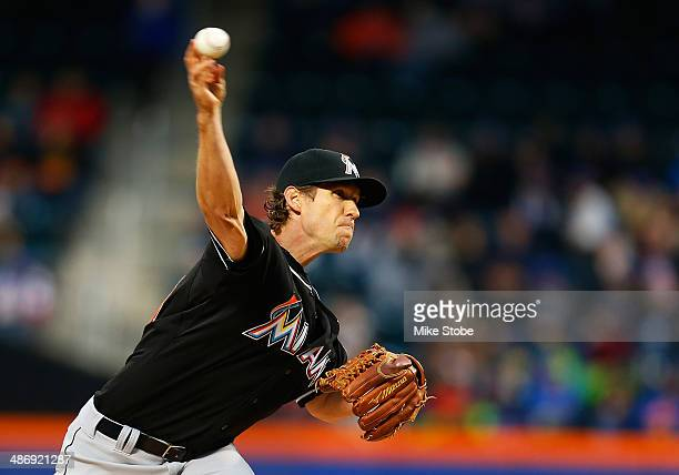 Kevin Slowey of the Miami Marlins pitches in the first inning against the New York Mets at Citi Field on April 26 2014 in the Flushing neighborhood...