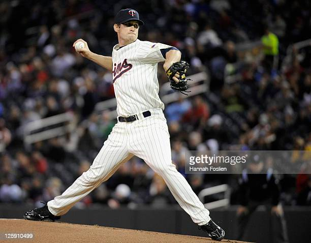 Kevin Slowey of the Minnesota Twins delivers a pitch against the Seattle Mariners in the first inning on September 21 2011 at Target Field in...