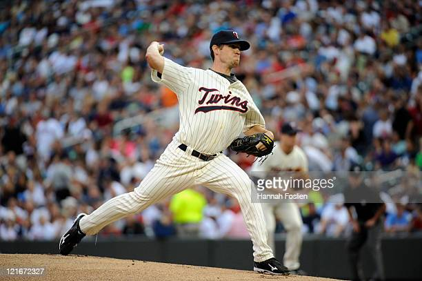 Kevin Slowey of the Minnesota Twins delivers a pitch against the New York Yankees on August 19 2011 at Target Field in Minneapolis Minnesota