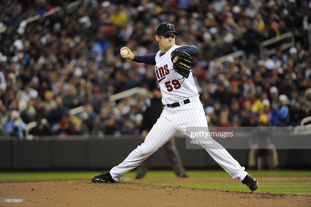 Kevin Slowey #59 of the Minnesota Twins pitches against the Chicago White Sox on May 11, 2010 at Target Field in Minneapolis, Minnesota. The White Sox defeated the Twins 5-2. (Photo by Ron Vesely/MLB Photos via Getty Images) *** Kevin Slowey