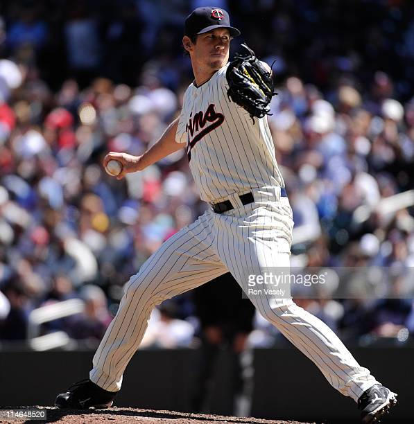 Kevin Slowey of the Minnesota Twins pitches during the game between the Toronto Blue Jays and the Minnesota Twins on Sunday May 15 2011 at Target...