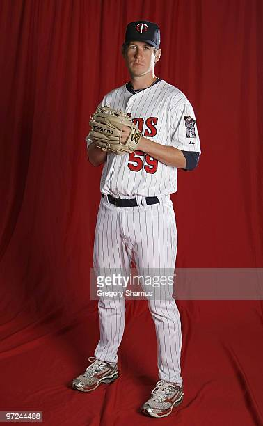 Kevin Slowey of the Minnesota Twins poses during photo day at Hammond Stadium on March 1 2010 in Ft Myers Florida