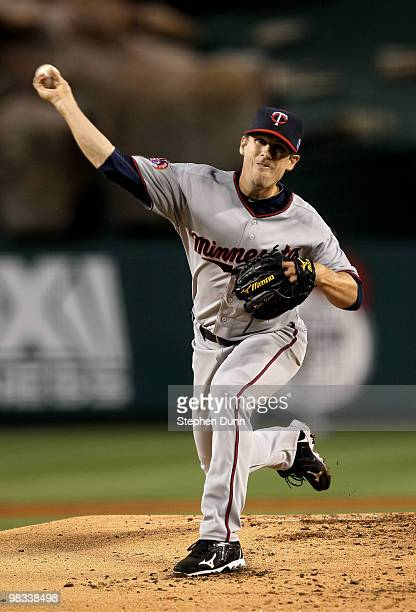 Kevin Slowey of the Minnesota Twins throws a pitch against the Los Angeles Angels of Anaheim on April 8 2010 at Angel Stadium in Anaheim California