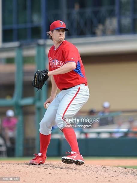 Kevin Slowey of the Philadelphia Phillies pitches during the Spring Training game against the Detroit Tigers at Joker Marchant Stadium on March 12...
