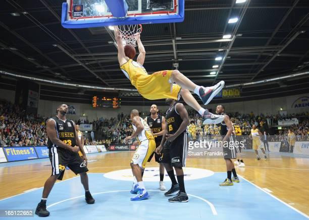 Kevin Smit of Oldenburg scores a basket during the Bundesliga BBL game between EWE Baskets Oldenburg and Neckar RIESEN Ludwigsburg on March 31 2013...
