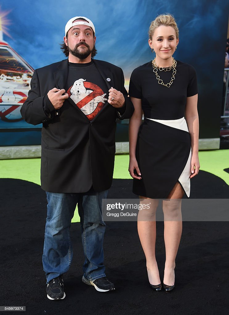 Kevin Smith and daughter Harley Quinn Smith arrive at the premiere of Sony Pictures' 'Ghostbusters' at TCL Chinese Theatre on July 9, 2016 in Hollywood, California.