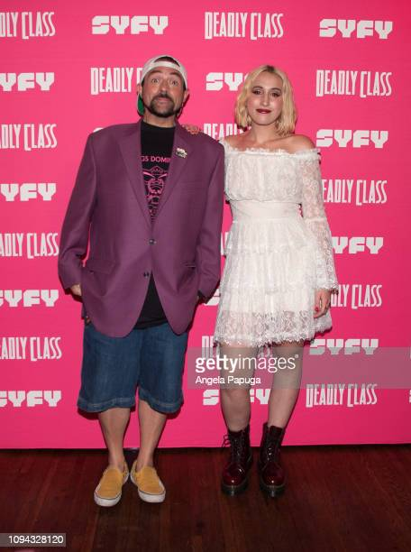 Kevin Smith and Harley Quinn Smith attend the premiere week screening of SYFY's 'Deadly Class' hosted by Kevin Smith at The Wilshire Ebell Theatre on...